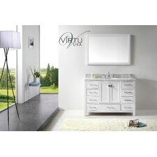 Caroline Avenue 48 Single Bathroom Vanity Set with Carrara White Top and Mirror by Virtu