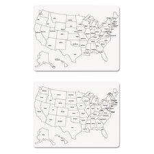Sided U.S. Map Wall Mounted Whiteboard, 2' H x 2' W