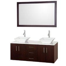Arrano 55 Double Espresso Bathroom Vanity Set with Mirror by Wyndham Collection