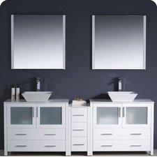 Torino 84 Double Modern Bathroom Vanity Set with Mirror by Fresca