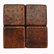 """2"""" x 2"""" Hammered Copper Tile in Oil Rubbed Bronze"""