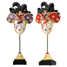 2 Piece Venetian Grand Ball Display Masks Sculpture