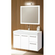 Linear 38 Single Wall Mounted Bathroom Vanity Set with Mirror by Iotti by Nameeks