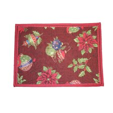 Seasonal Jingle Bells Design Red Area Rug