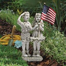 Patriotic Flag Children Statue
