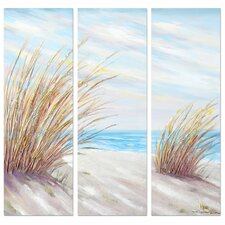 Revealed Artwork Shore Grass 3 Piece Painting Wrapped Canvas Set