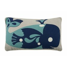 Whale 12x20 Cotton Lumbar Pillow