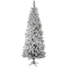 Flocked Pacific Pine 7.5' White Artificial Pencil Christmas Tree with Stand