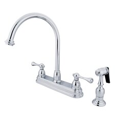 Vintage Double Handle Kitchen Faucet with Brass Spray