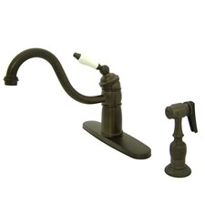 Victorian Single Handle Kitchen Faucet with Brass Spray