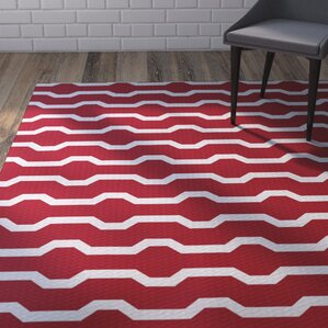 Uresti Decorative Holiday Geometric Print Red Woven Indoor/Outdoor Area Rug