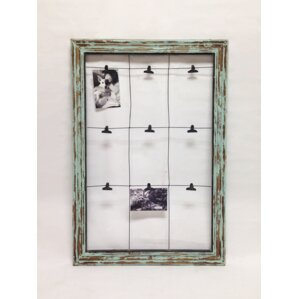 Picture It Wood Window Frame With Stretched Wire And 9 Photo Clip Wall Décor