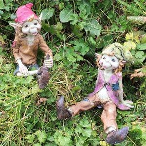 2 Piece Pixie Sitting Down Outdoor Garden Statue Set