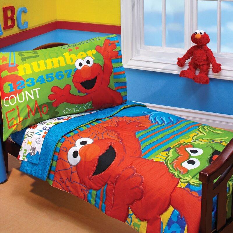 sesame street abc 123 4 piece toddler bedding set & reviews | wayfair