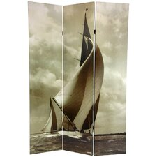 71 x 47.63 Sailboat 3 Panel Room Divider by Oriental Furniture