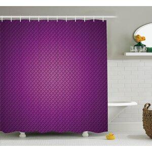 Valerie Purple Abstract Digital Diagonal Grid Geometric Diamond Symmetric Lines Futuristic Print Shower Curtain Ebern Designs