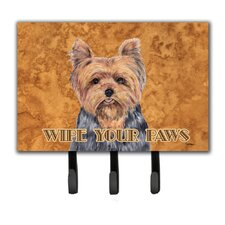 Yorkie Wipe Your Paws Leash Holder and Key Hook by Caroline's Treasures