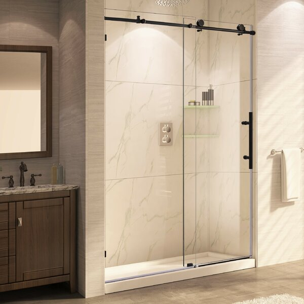 wet republic trident mocha x single sliding shower door u0026 reviews wayfair