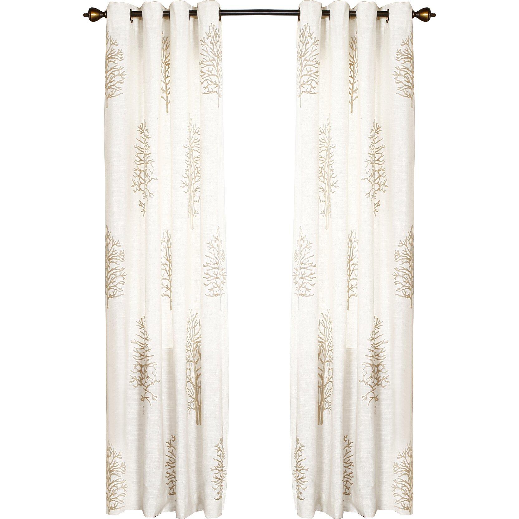 Floral Semisheer Grommet Curtain Panels