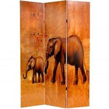 71 x 47.63 Giraffe & Elephant 3 Panel Room Divider by Oriental Furniture