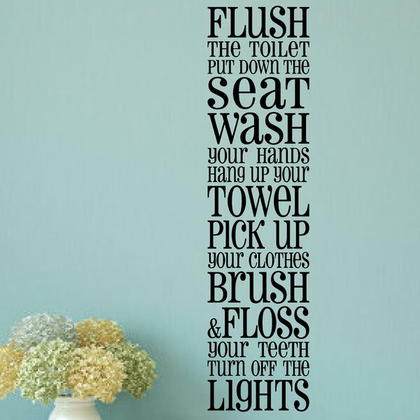 Enchantingly Elegant Bathroom Rules Wall Sticker  Reviews - How do you put a wall sticker up