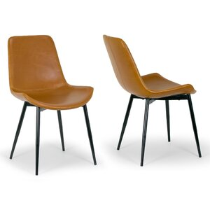 Alary Faux Leather Modern Side Chair (Set of 2) by Glamour Home Decor
