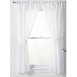 wayfair basics solid sheer rod pocket bathroom curtain panels set of 2