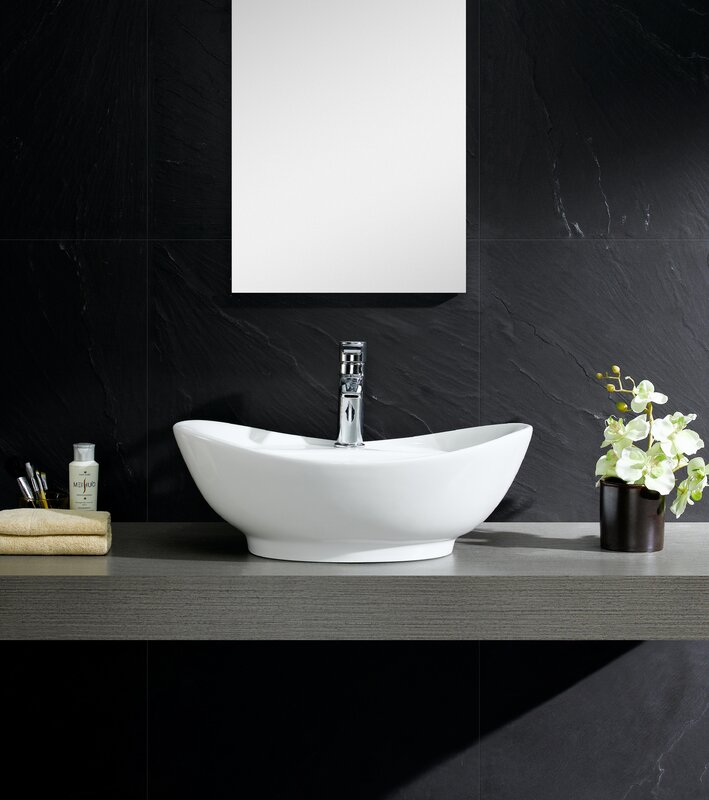 Fine Fixtures Modern Vitreous Large Oval Vessel Bathroom Sink with