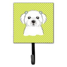 Checkerboard Maltese Leash Holder and Wall Hook by Caroline's Treasures