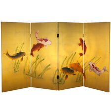 36 x 50.4 Double Sided Seven Lucky Fish 4 Panel Room Divider by Oriental Furniture