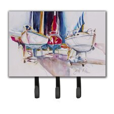 Sailboats in Dry Dock Leash Holder and Key Hook by Caroline's Treasures