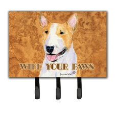 Bull Terrier Wipe Your Paws Leash Holder and Key Holder by Caroline's Treasures