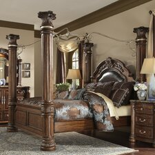 Monte Carlo II Upholstered Canopy Bed by Michael Amini (AICO)