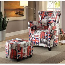 Grange Wing back Chair and Ottoman (Set of 2) by Latitude Run