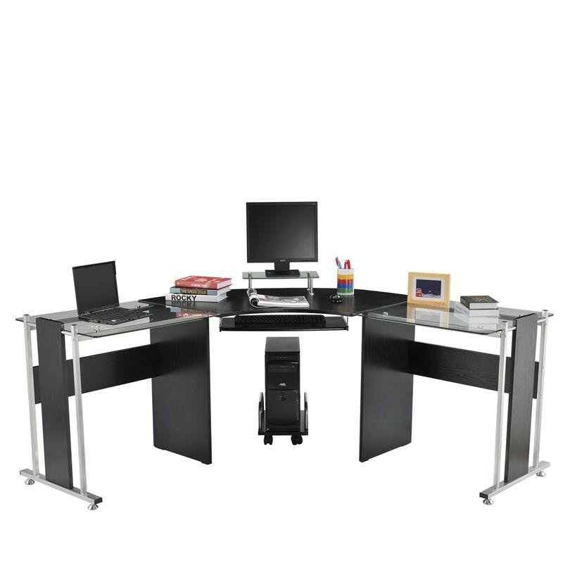 Latitude Run Wicker Modern LShaped Computer Desk Reviews Wayfair