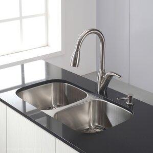 31 38 X 18 Double Basin Undermount Kitchen Sink