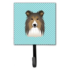 Checkerboard Sheltie Leash Holder and Wall Hook by Caroline's Treasures