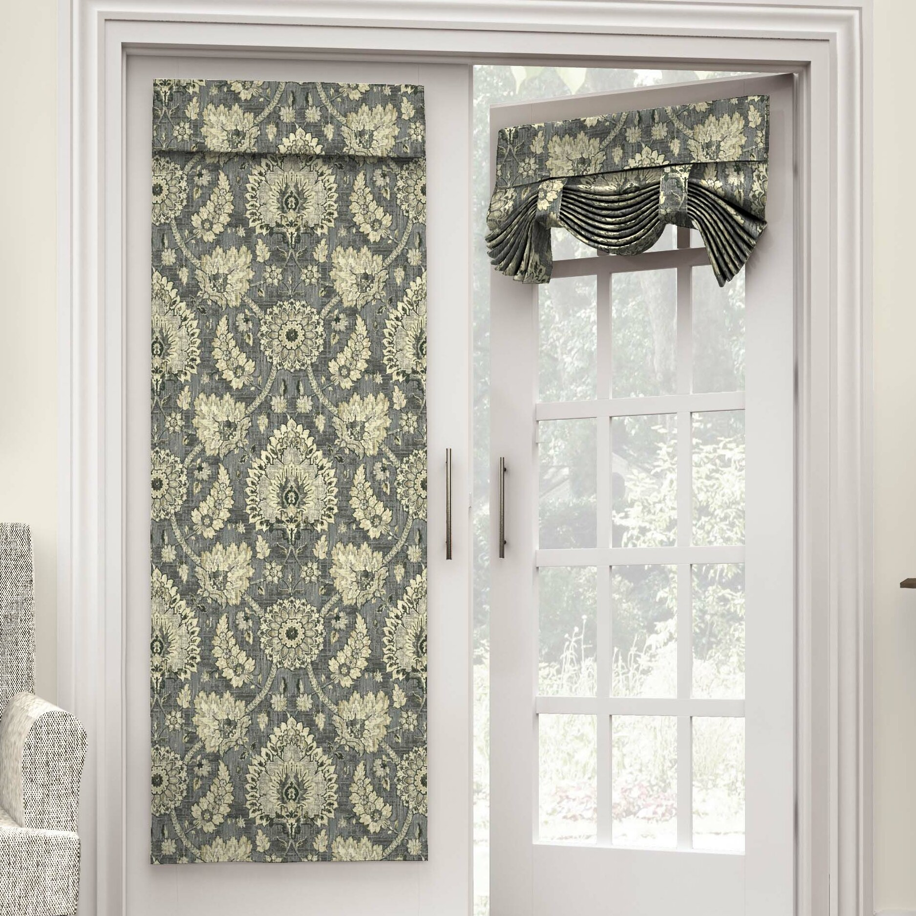 Front door sidelight curtains - Clifton Hall Nature Floral Semi Sheer Rod Pocket Single Curtain Panel