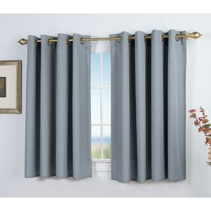 Glasgow Short Solid Semi Sheer Grommet Single Curtain Panel