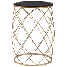 Milburn Convex Round Metal End Table with Glass Top by Mercer41