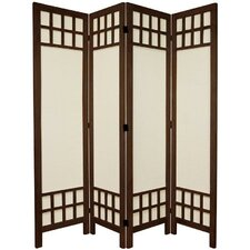 67 Tall Window Pane Fabric 4 Panel Room Divider by Oriental Furniture