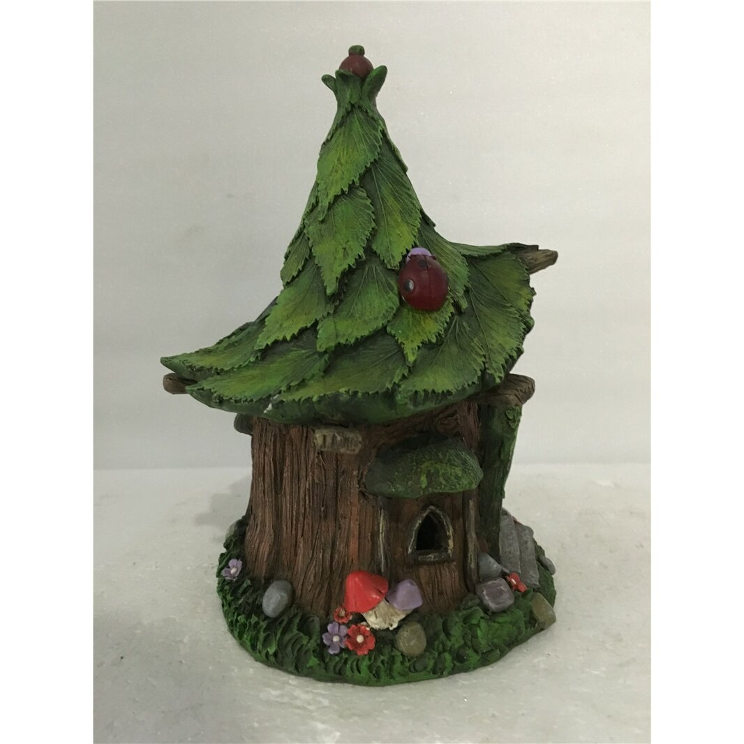 Fairy lawn ornaments - Fairy Garden House With Leaf Roof And Solar Led Lights Statue