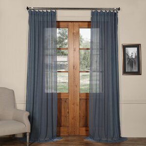 Aurillac Solid Sheer Tab Top Single Curtain Panel