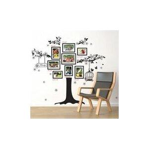 Black Photo Frame Tree with Birdcage Wall Sticker