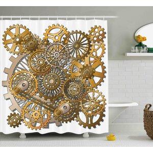 Dina Clock The Gears Shower Curtain Ebern Designs