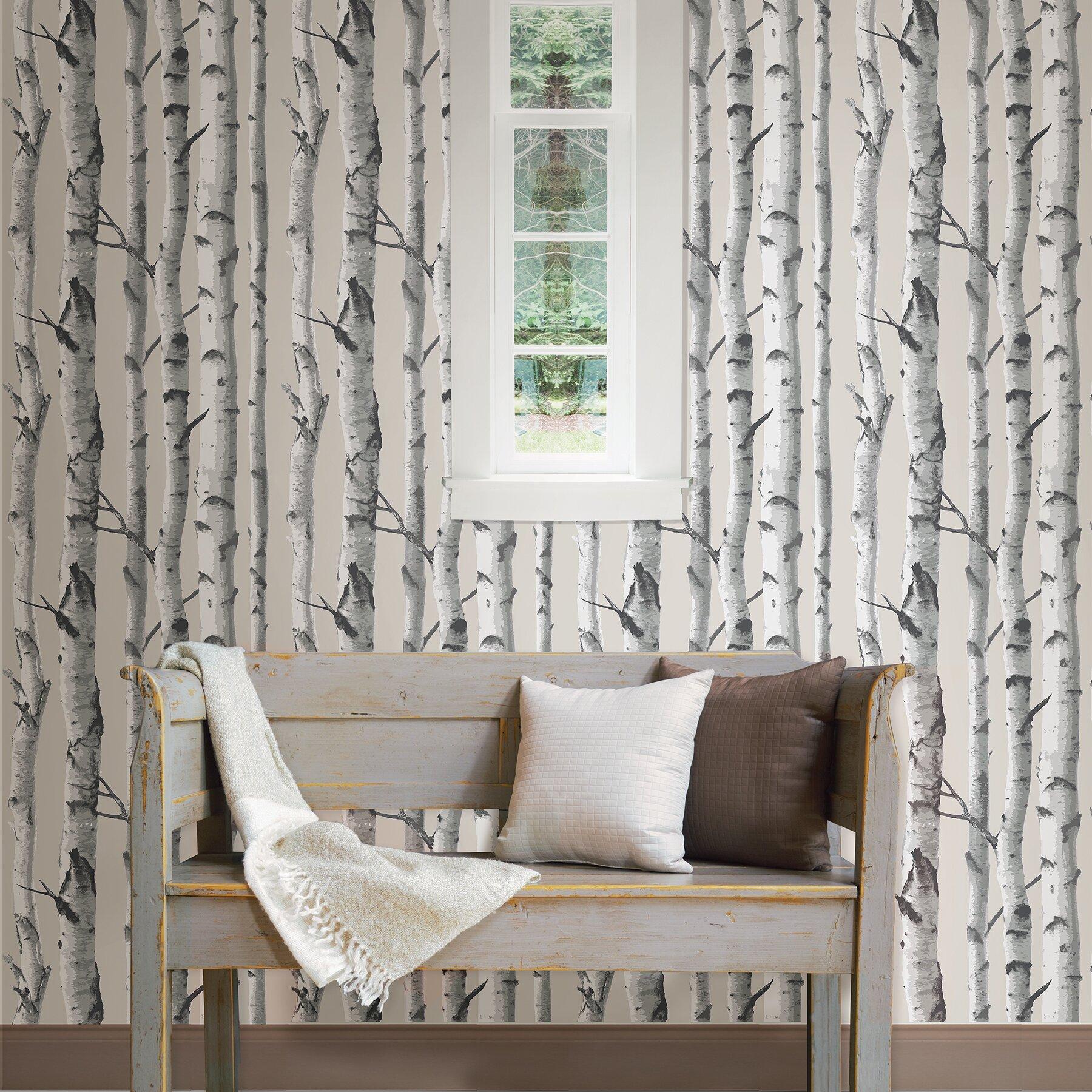 Wallpops birch tree 18 39 x 20 5 peel and stick wallpaper for Wayfair bathroom wallpaper