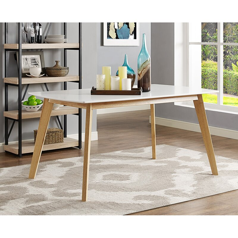 brayden studio broadus retro modern dining table & reviews | wayfair