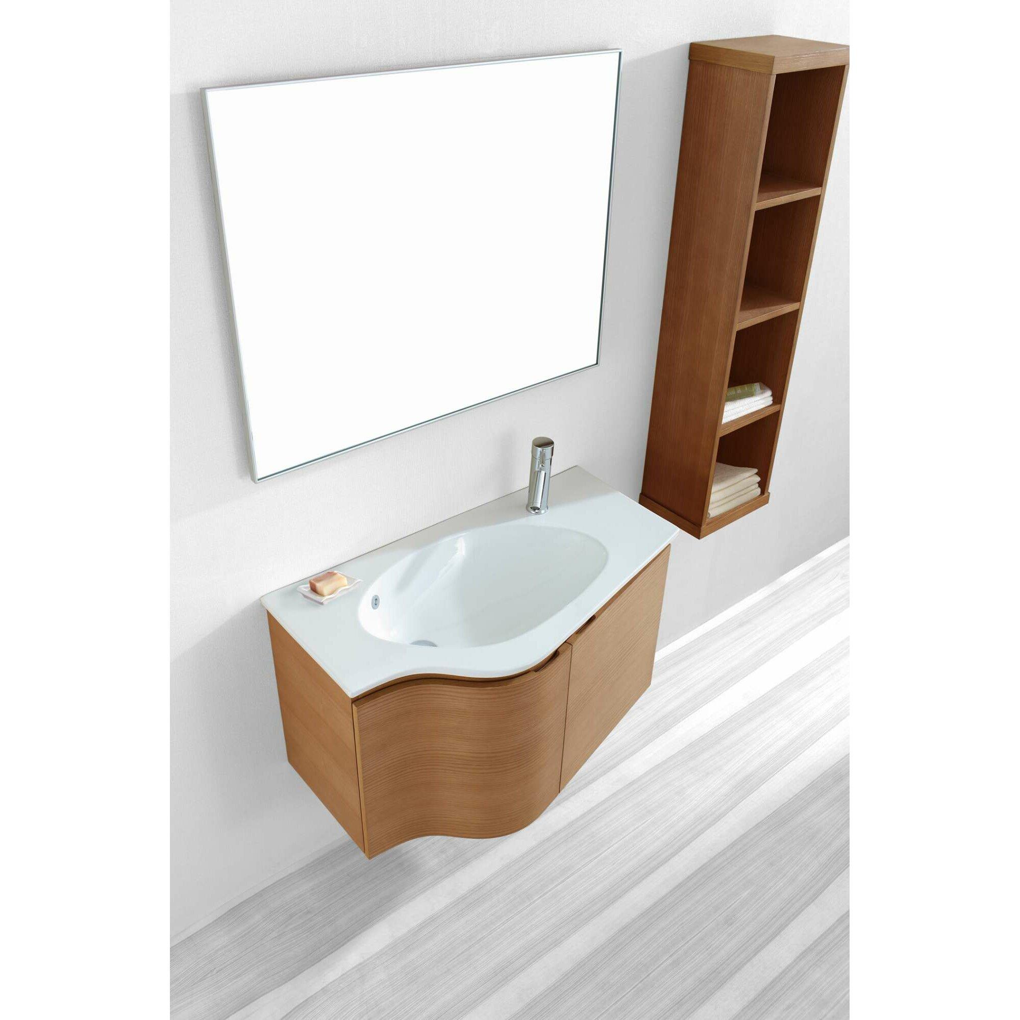 Virtu bathroom accessories - Roselle 35 Single Floating Bathroom Vanity Set With Ceramic Top And Mirror