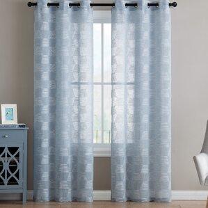 Lewis Geometric Sheer Grommet Curtain Panels (Set Of 2)