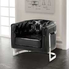 Cleary Stainless Steel Frame Tufted Barrel Chair by Brayden Studio
